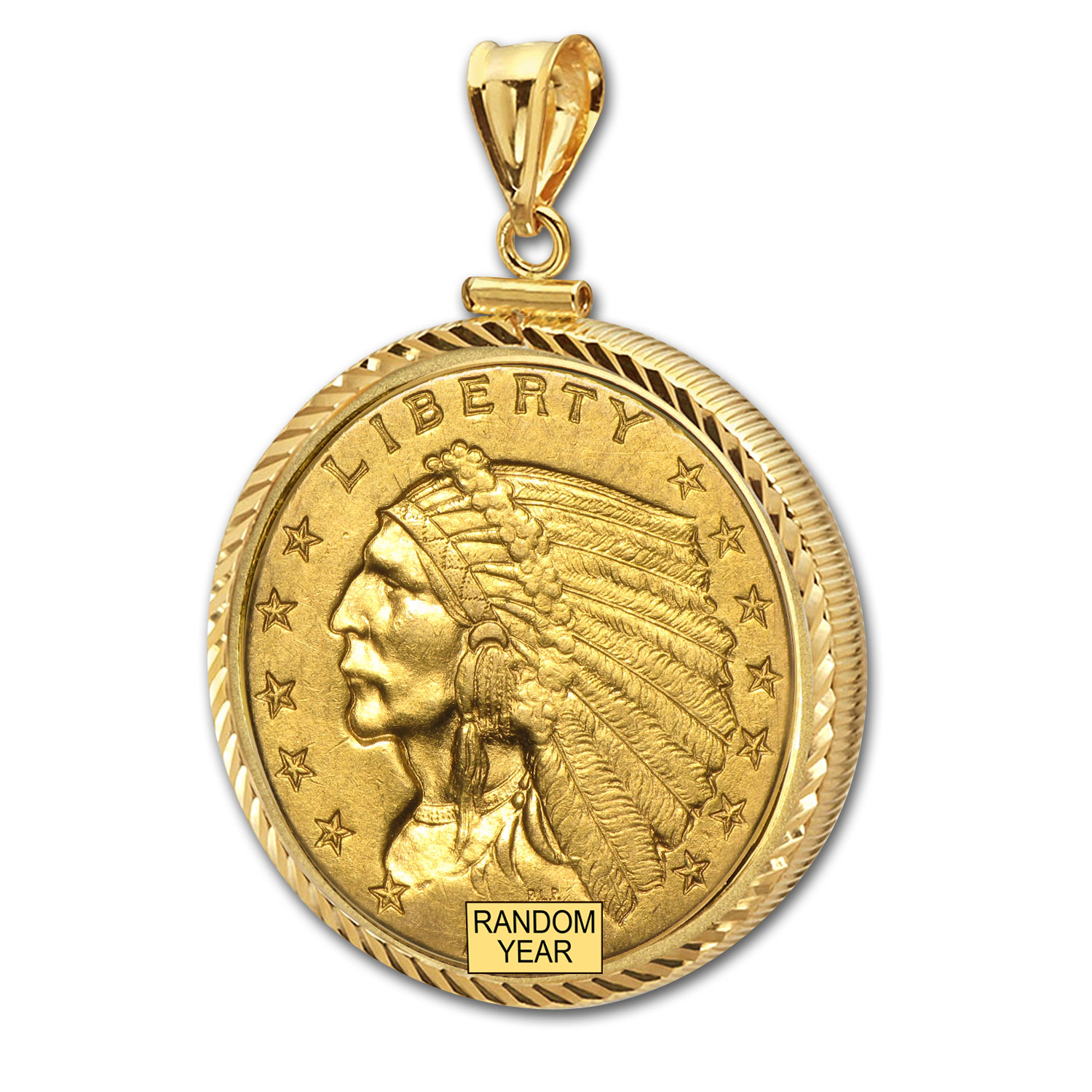 $2.50 Indian Gold Quarter Eagle Pendant (Diamond-ScrewTop Bezel)